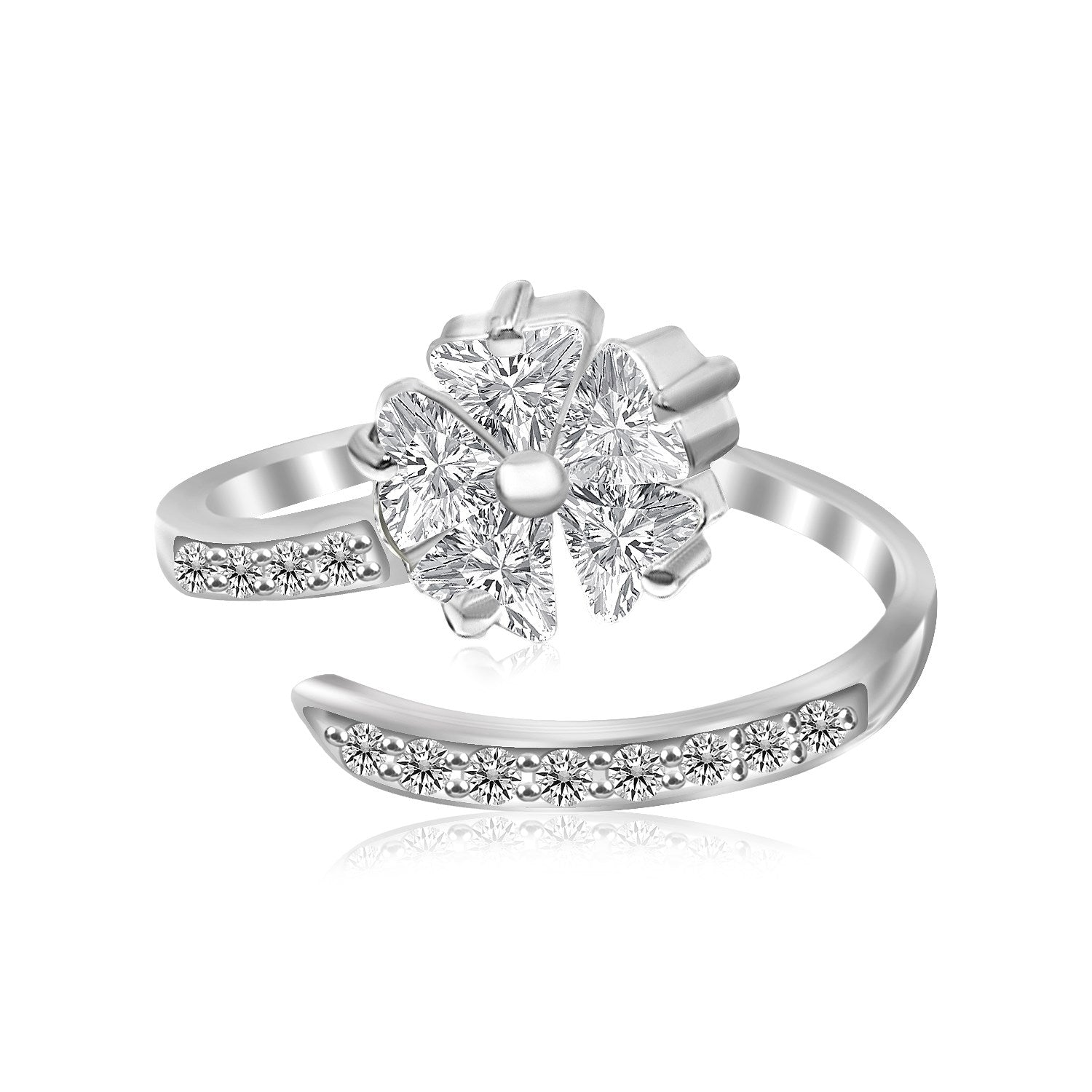 Sterling Silver Rhodium Finished Floral Motif Cubic Zirconia Toe Ring - Uniquepedia.com