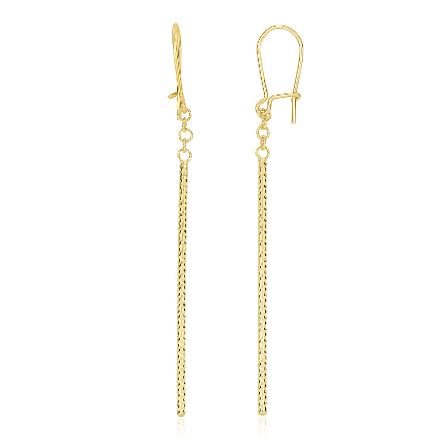 14K Yellow Gold Long Bar Diamond Cut Drop Earrings