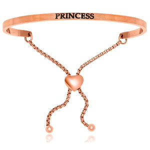 Pink Stainless Steel Princess Adjustable Bracelet