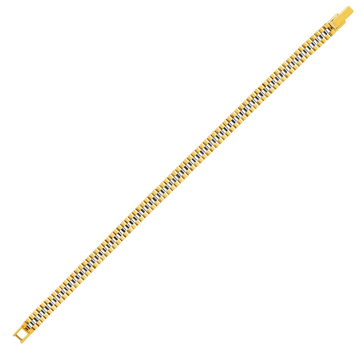 14K Two-Toned Yellow and White Gold Panther Link Bracelet