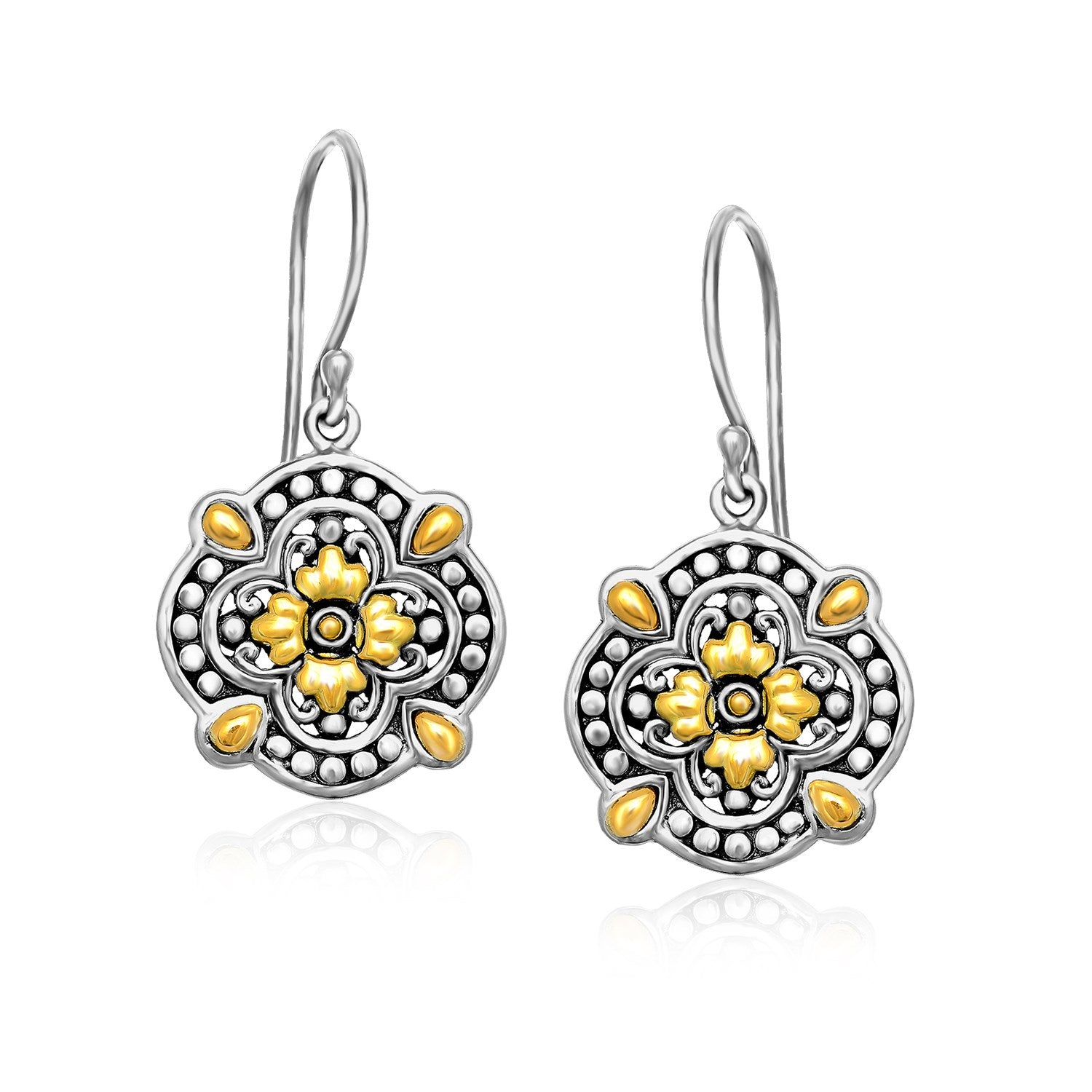 18K Yellow Gold & Sterling Silver Byzantine Pattern Flower Shape Earrings