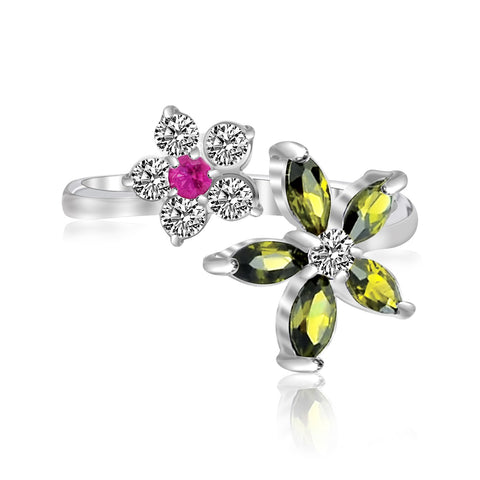 Sterling Silver Rhodium White, Red, & Green Cubic Zirconia Floral Toe Ring - Uniquepedia.com