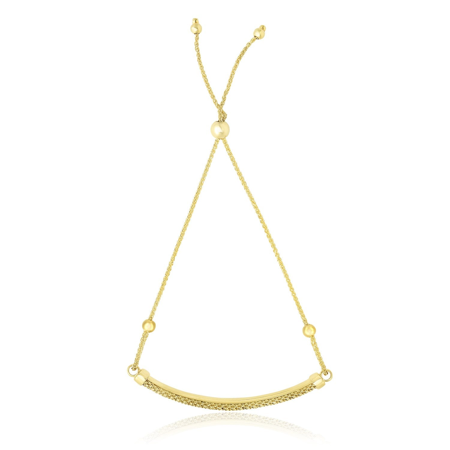 14K Yellow Gold Textured Bar Adjustable Lariat Bracelet