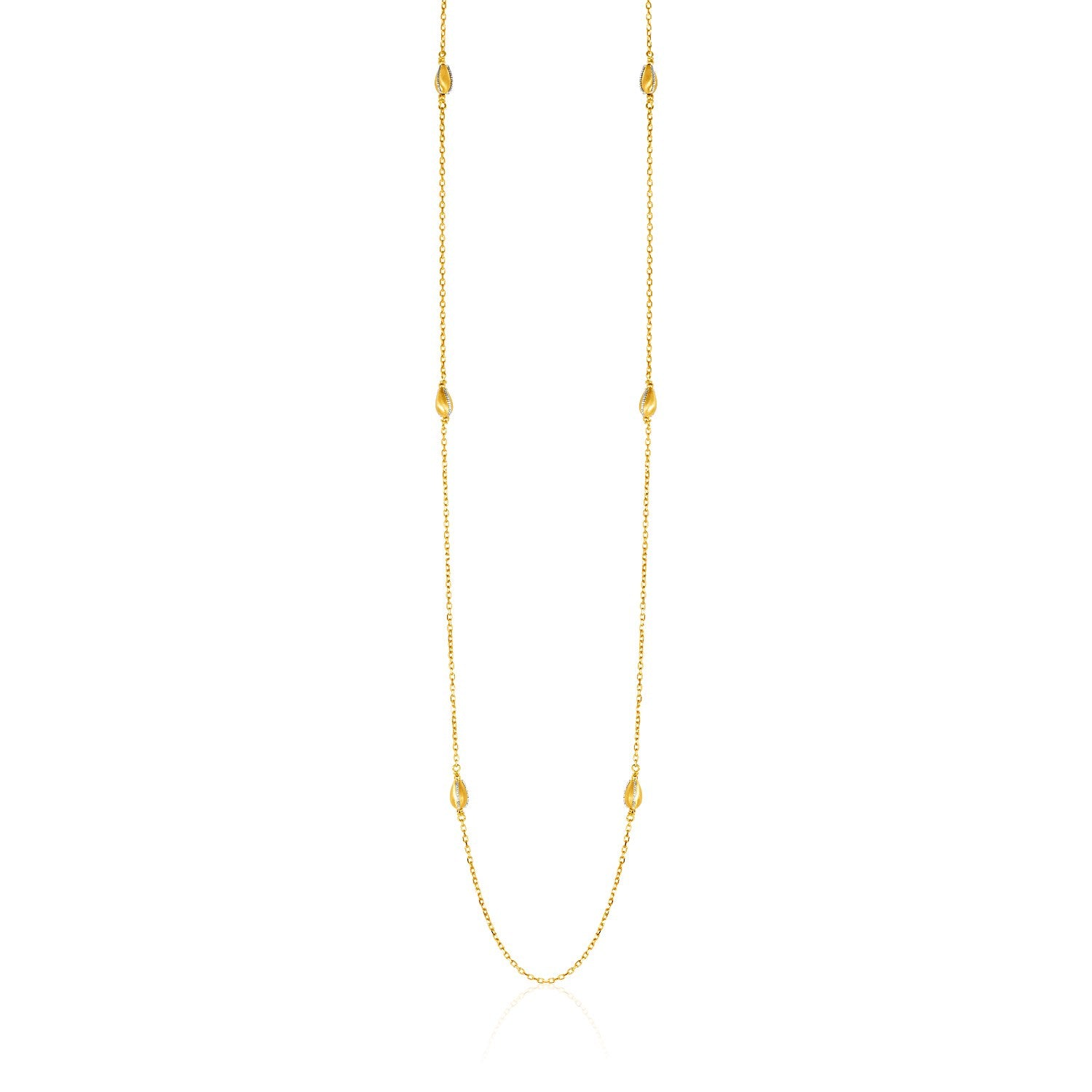 Unique Hollywood Style 14K Two-Tone Yellow and White Gold Necklace with Teardrop Motifs