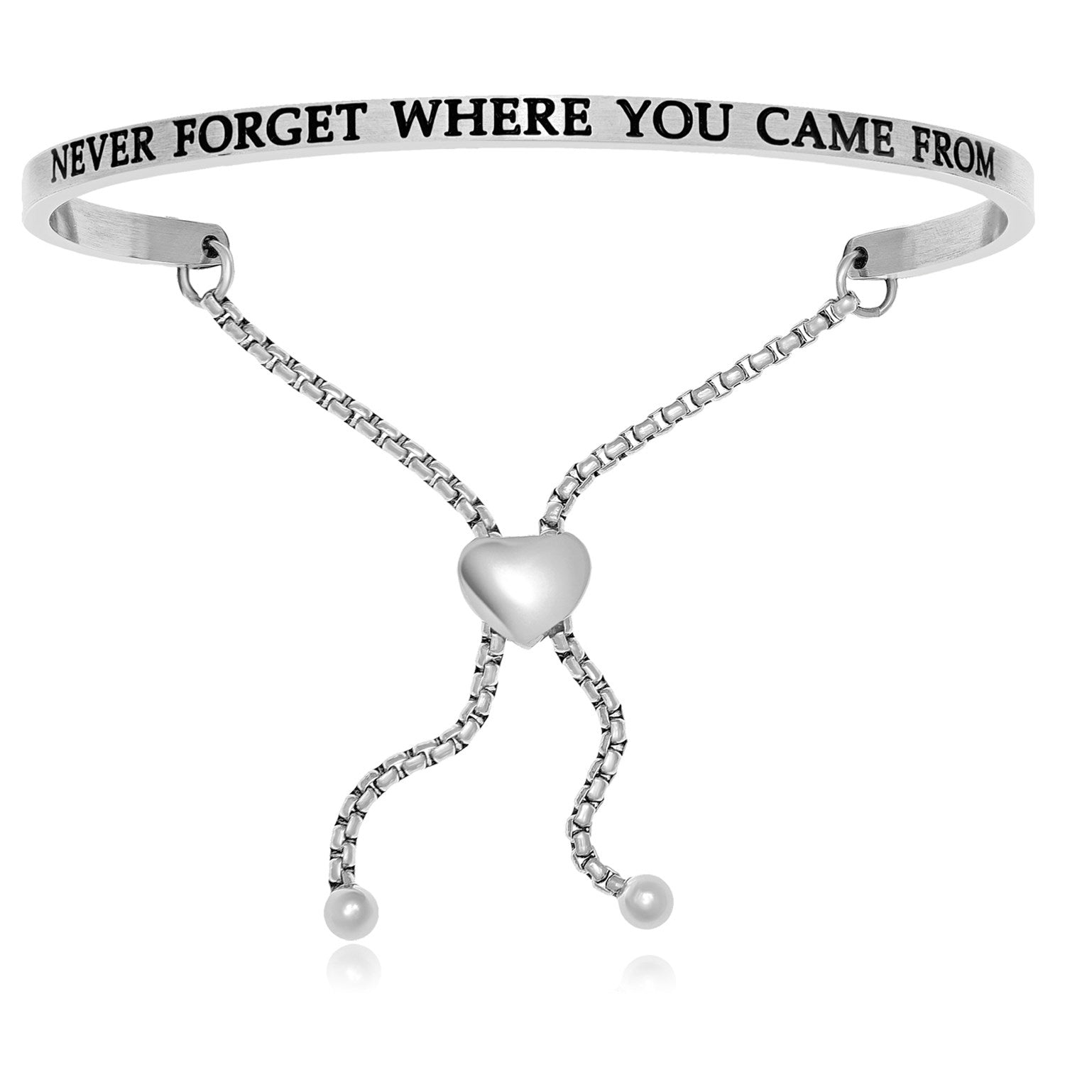 Stainless Steel Never Forget Where You Came From Adjustable Bracelet