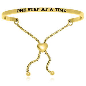 Yellow Stainless Steel One Step At A Time Adjustable Bracelet