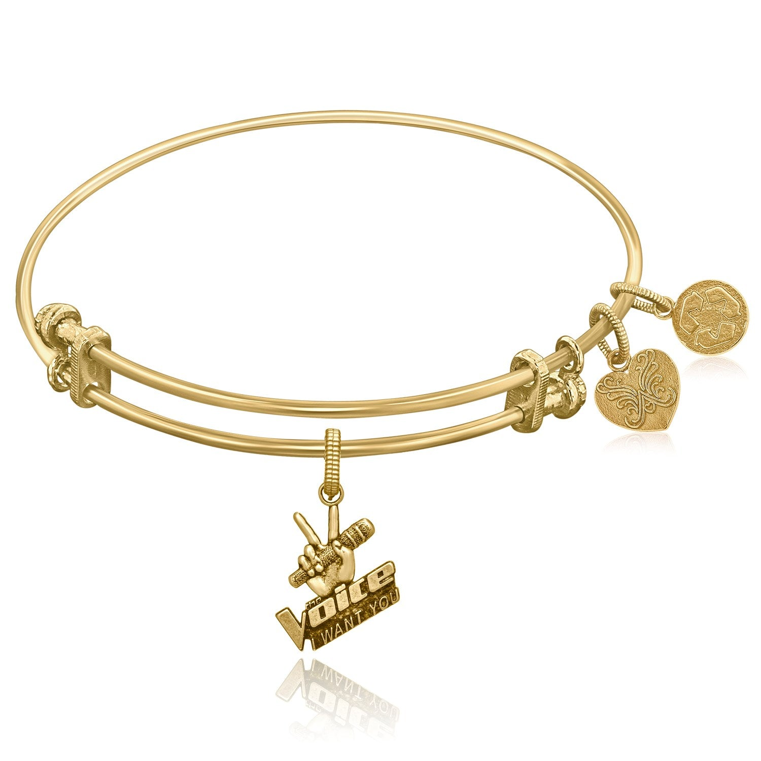 Expandable Yellow Tone Brass Bangle with The Voice Microphone Symbol