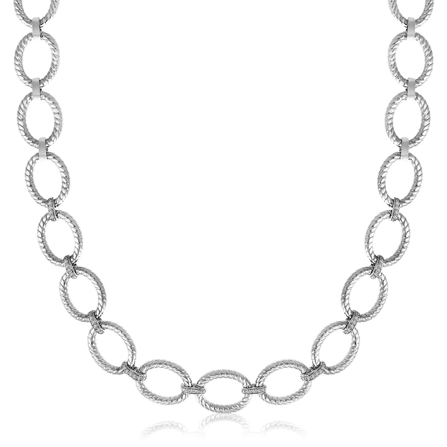 Sterling Silver Rhodium Plated Diamond Accented Rope Oval Necklace (.26ct tw)