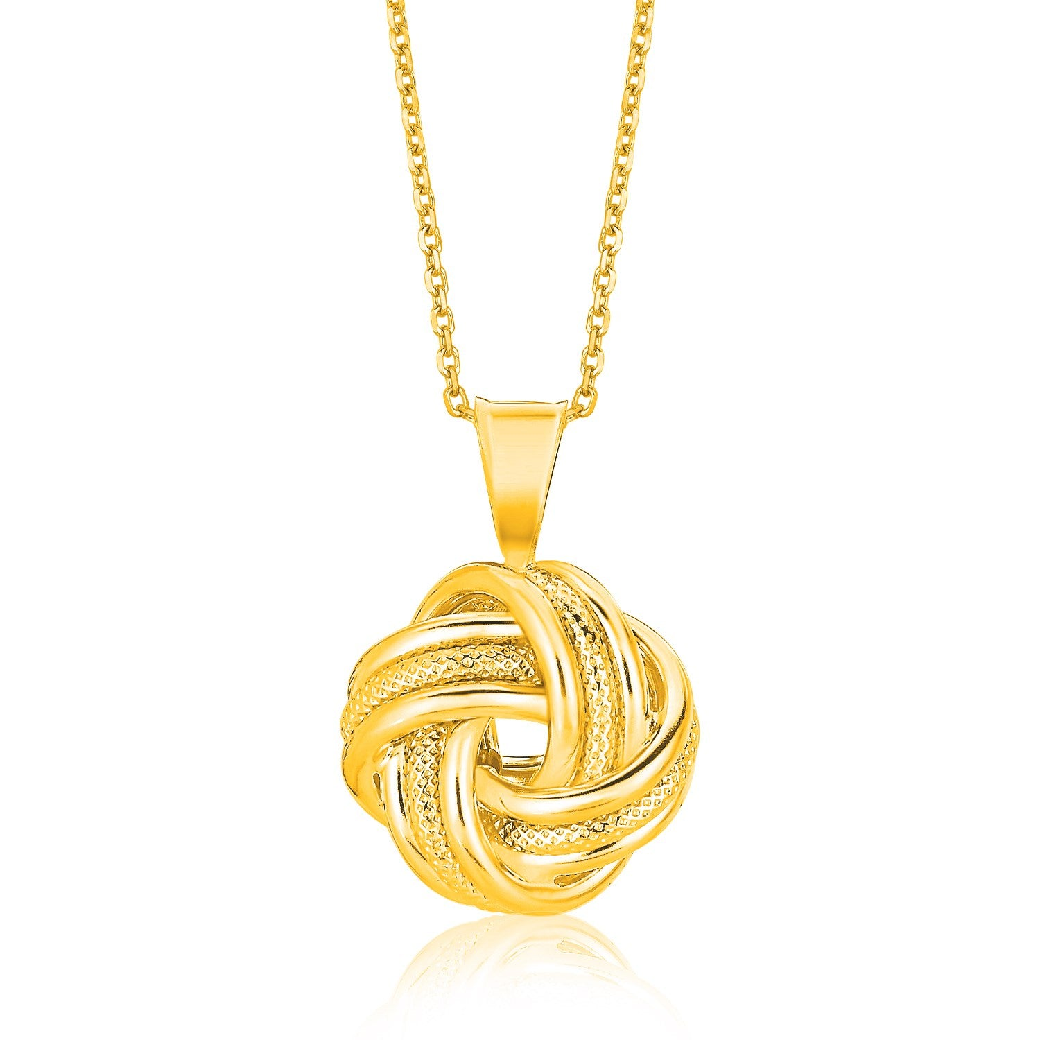 14K Yellow Gold Polished Love Knot Pendant with Ridges
