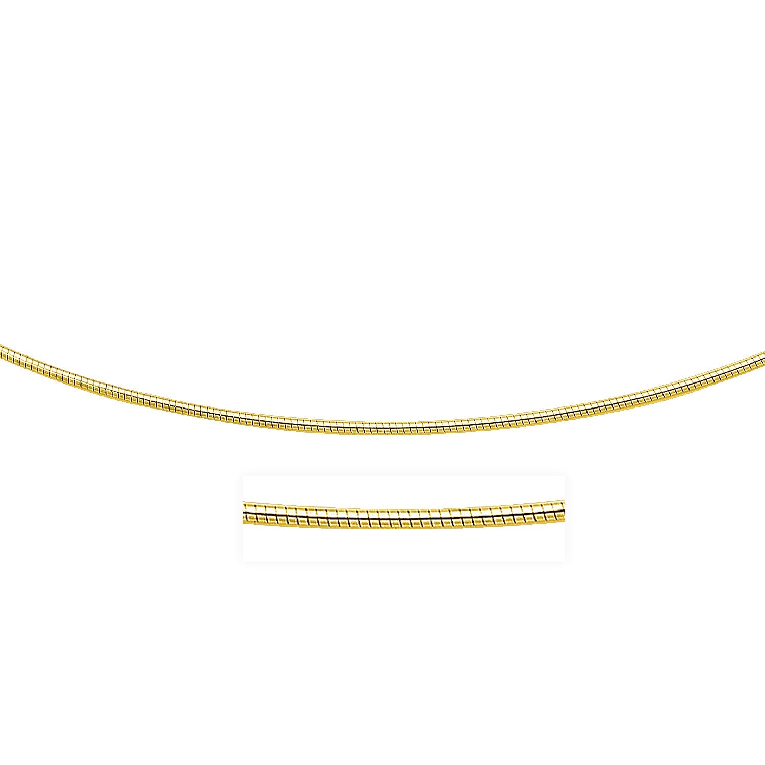 Unique Hollywood Style 14K Yellow Gold Necklace in a Round Omega Chain Style