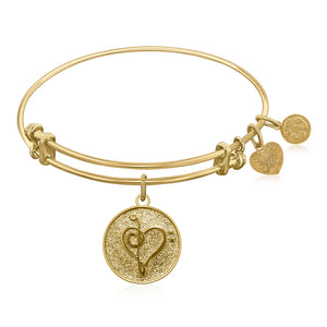 Expandable Bangle in Yellow Tone Brass with Music Feel The Beat Symbol