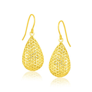 Modern Hollywood Style Classy 14K Yellow Gold Honeycomb Texture Large Teardrop Drop Earrings