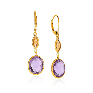 14K Yellow Gold Drop Earrings with Citrine and Amethyst Briolettes