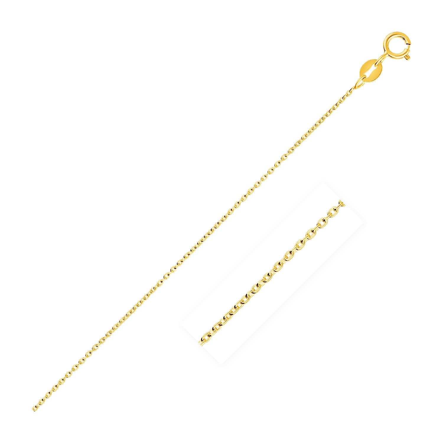 0.7mm 14K Yellow Gold Oval Cable Link Chain