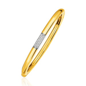 Unique Luxury French Style 14K Gold and Diamond Domed Bangle Bracelet with Clasp (1/5 ct. tw.)
