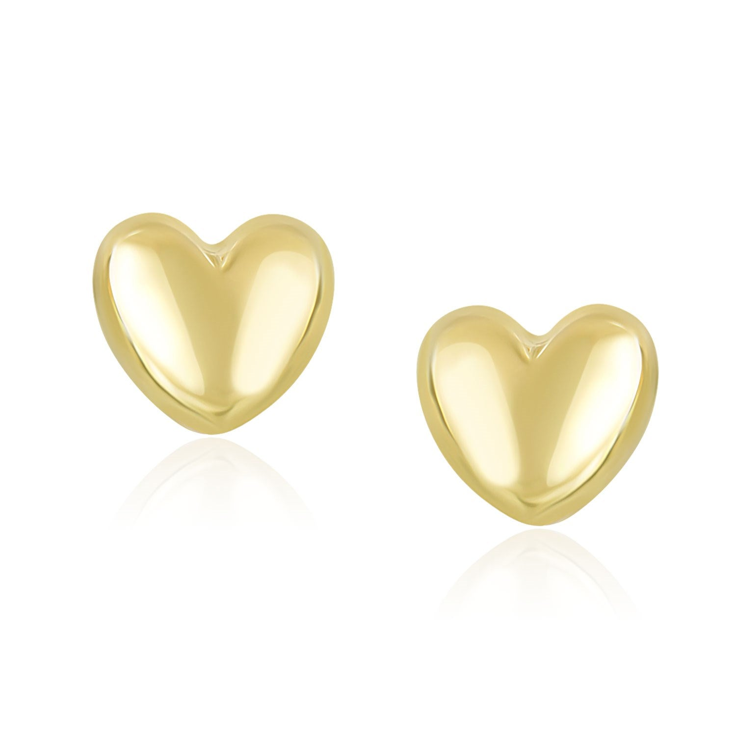 14K Yellow Gold Puffed Heart Shape Shiny Earrings