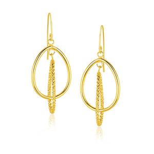 14K Yellow Gold Dangling Earrings with Teardrop and Textured Rows