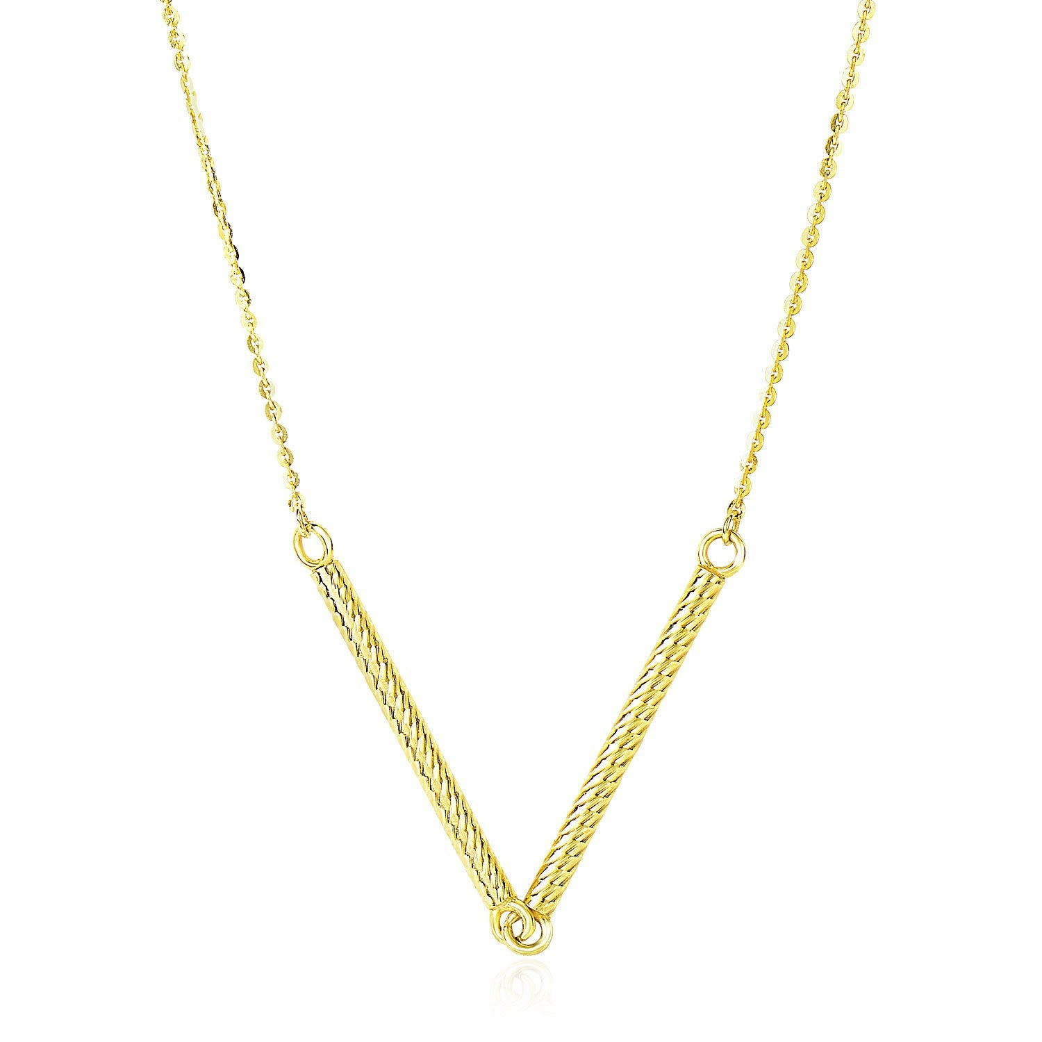 Unique Hollywood Style 14K Yellow Gold Chain Necklace with Two Connected Thin Bar Pendant