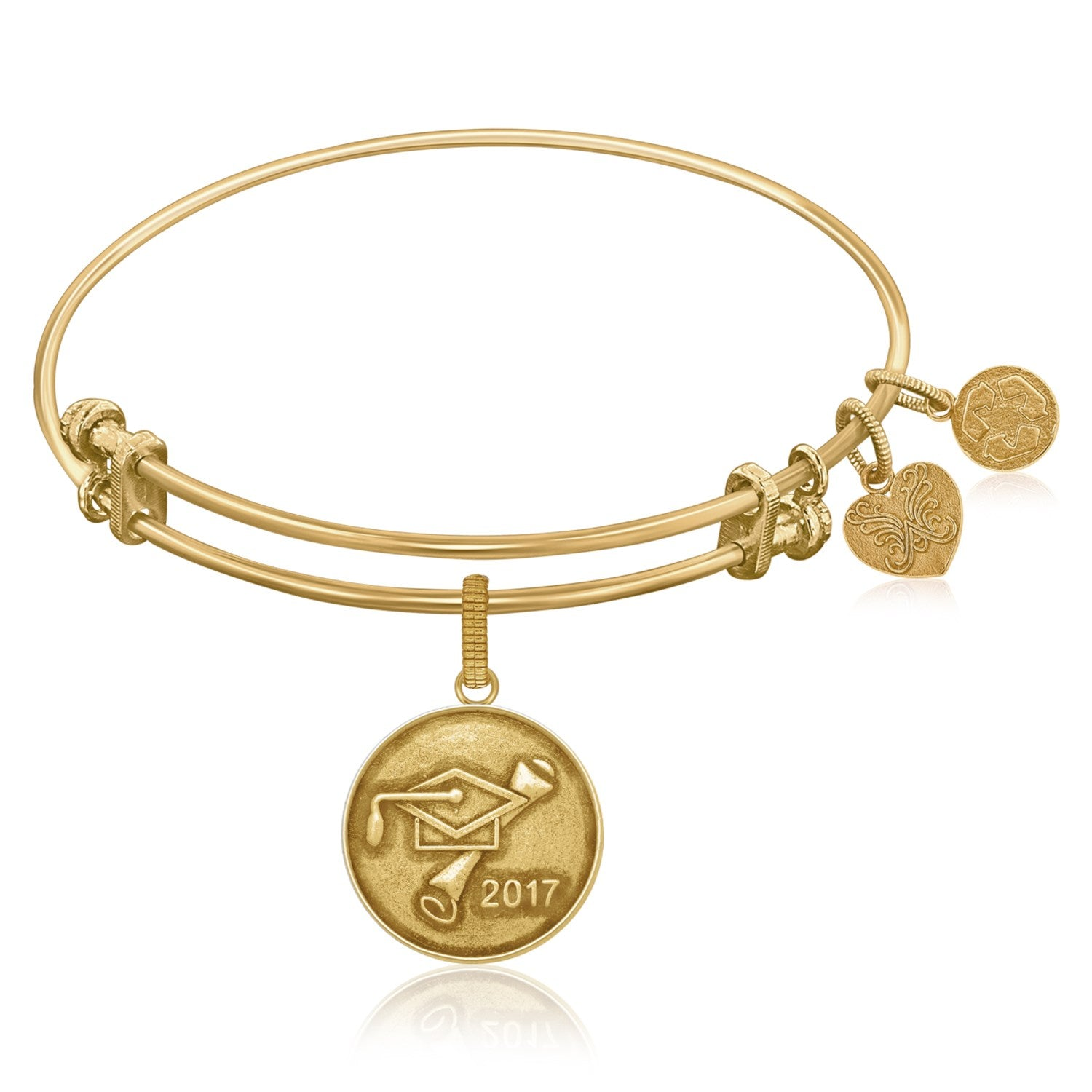 Expandable Bangle in Yellow Tone Brass with Class Of 2017 Graduation Cap Symbol