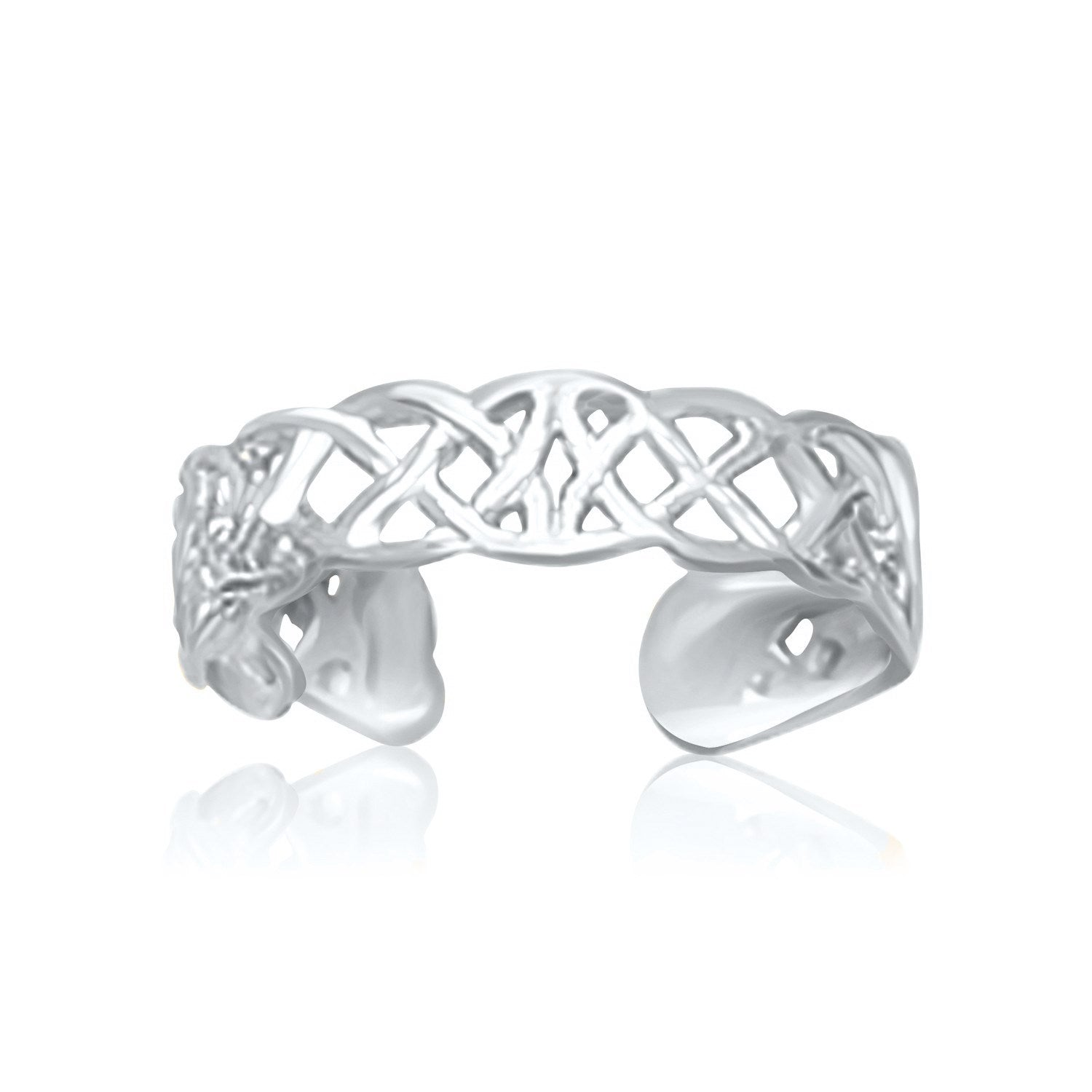 14K White Gold Toe Ring in a Celtic Knot Style - Uniquepedia.com