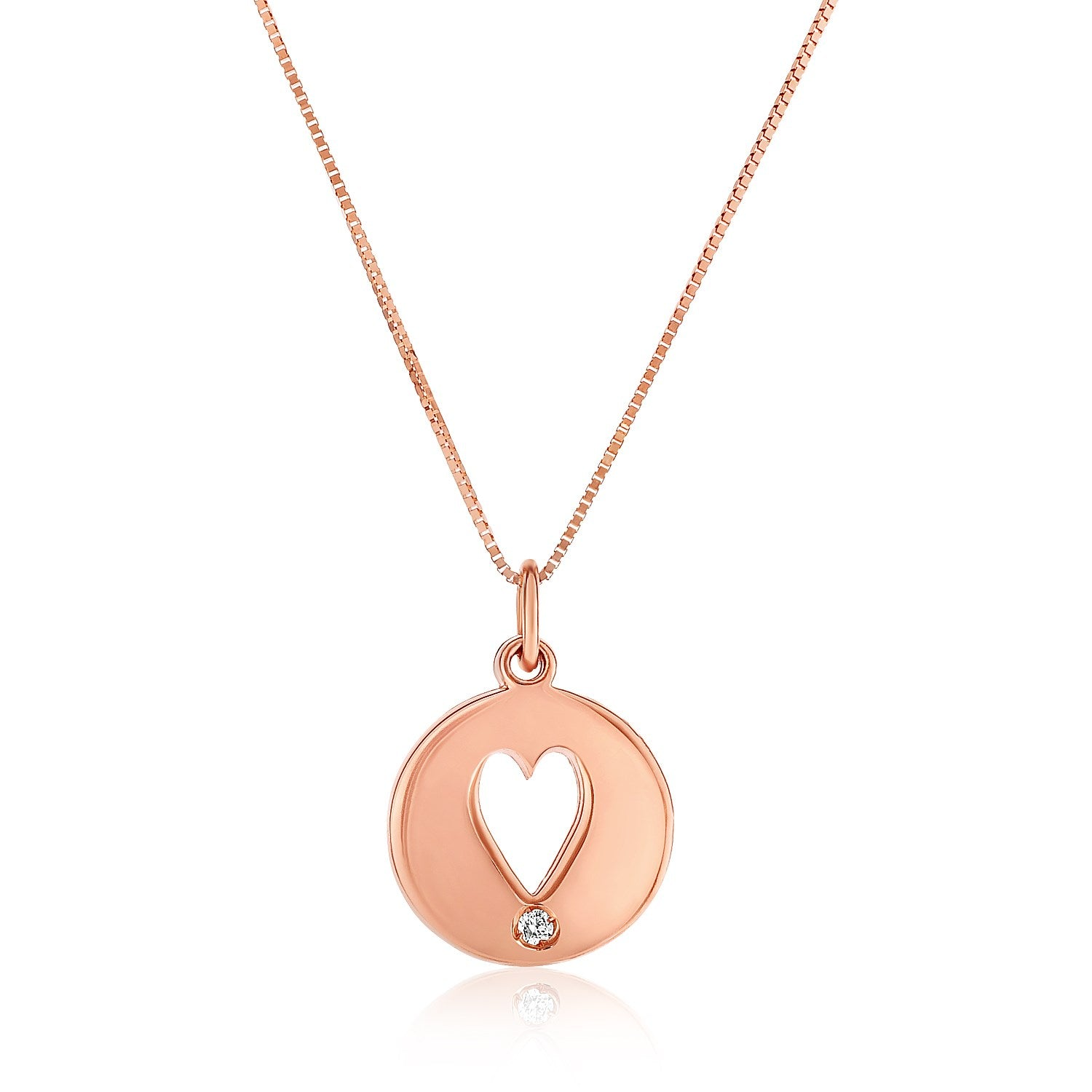 14k rose gold necklace with gold and diamond cutout heart pendant 14k rose gold necklace with gold and diamond cutout heart pendant aloadofball Image collections