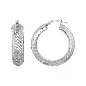 Diagonal Diamond Cut Textured Domed Hoop Earrings in Sterling Silver