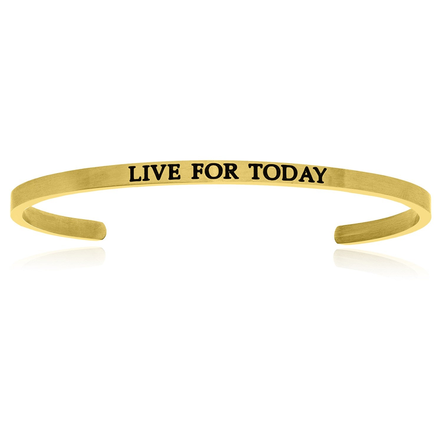 Yellow Stainless Steel Live For Today Cuff Bracelet