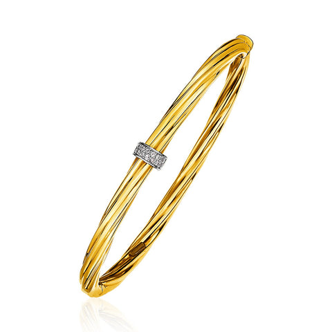 Unique Luxury French Style 14K Yellow Gold and Diamond Twisted Bangle Bracelet (1/10 ct. tw.)