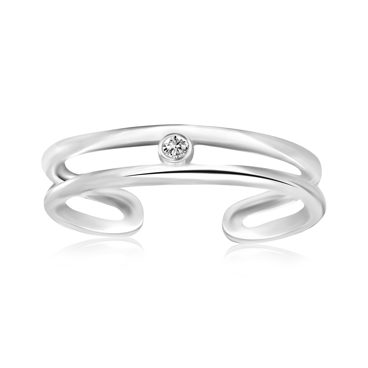 Sterling Silver Rhodium Plated Dual Open Style Cubic Zirconia Accented Toe Ring - Uniquepedia.com