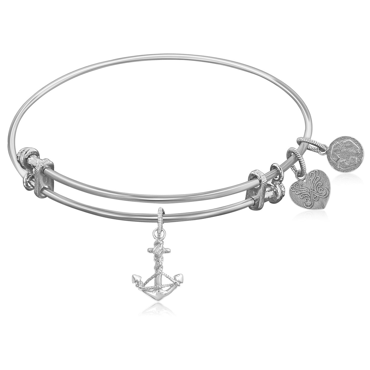 Modern New York Style Unique Expandable White Tone Brass Bangle with Anchor Symbol
