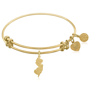 Expandable Yellow Tone Brass Bangle with New Jersey Symbol