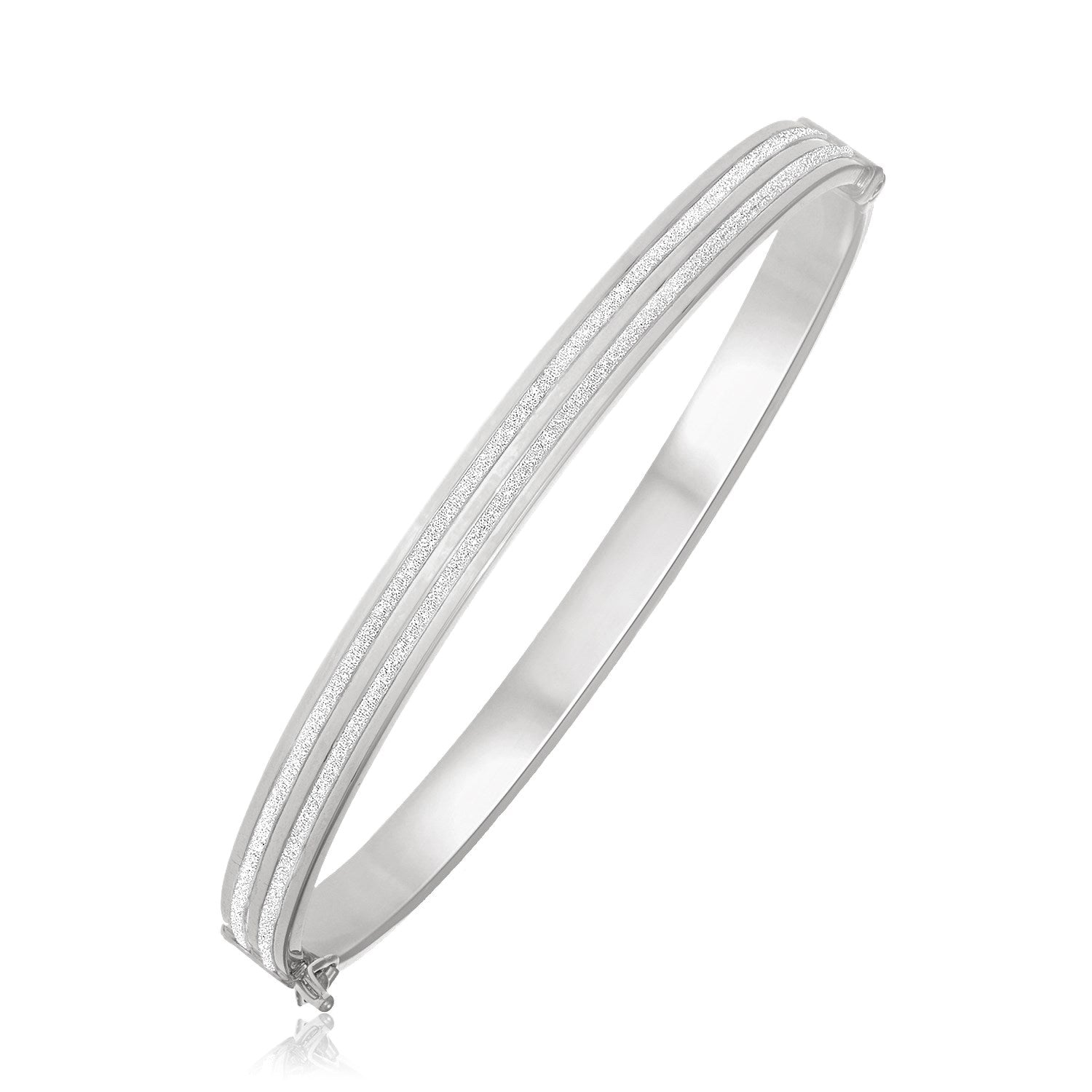 14K White Gold Double Glitter Center Bangle