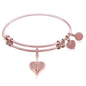 Expandable Bangle in Pink Tone Brass with Heart With Cross Symbol