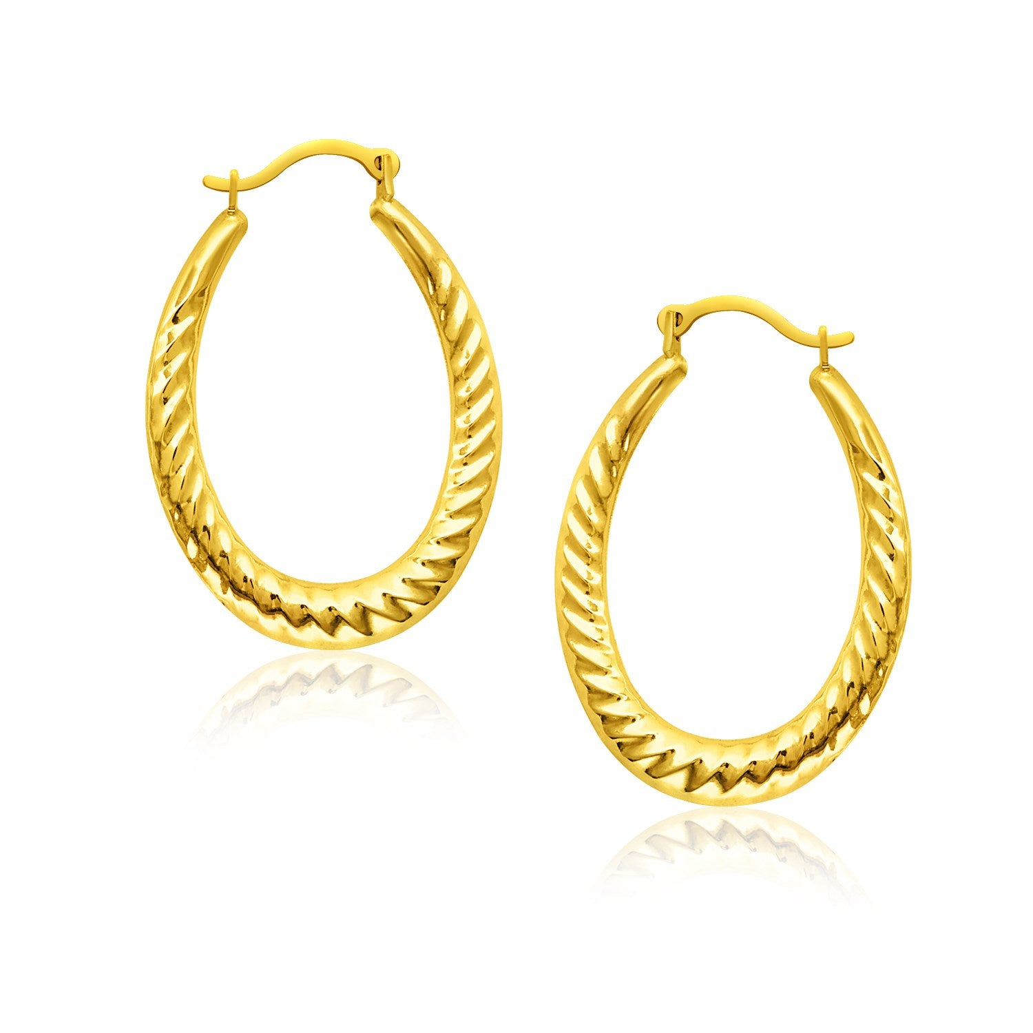 Uniquely Designer Monaco Style 14K Yellow Gold Hoop Earrings with Textured Details