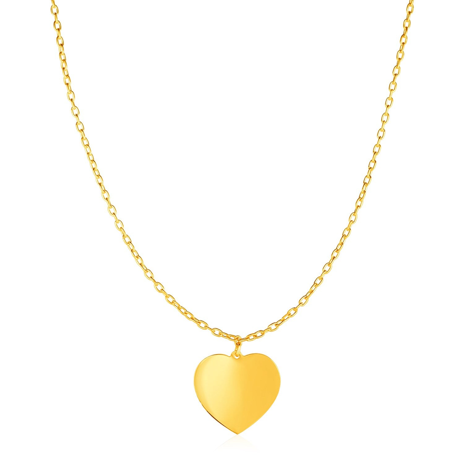 Choker Necklace with Polished Heart Pendant in 14K Yellow Gold