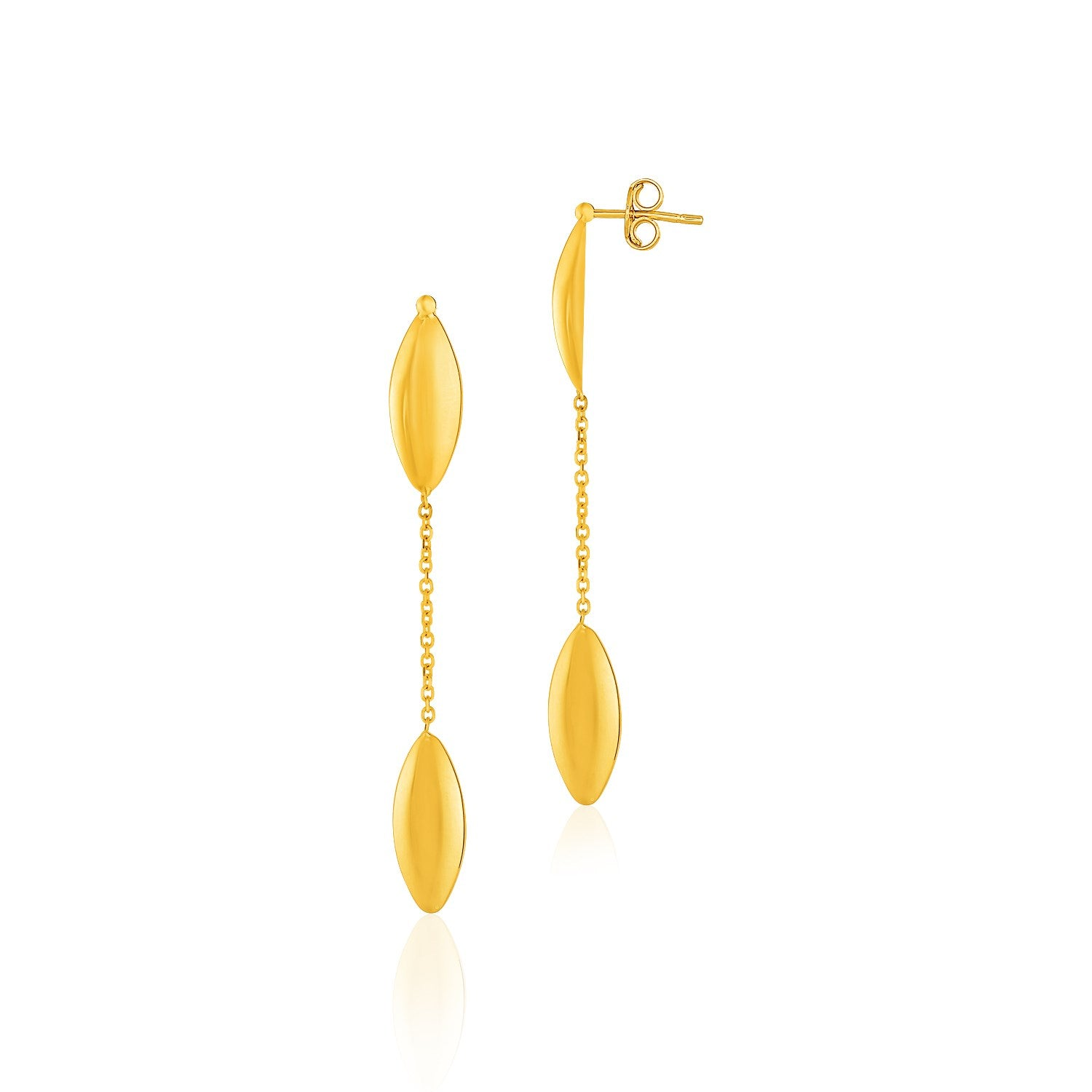 Original Modern Italian Style 14K Yellow Gold Puffed Marquise Motif Drop Post Earrings