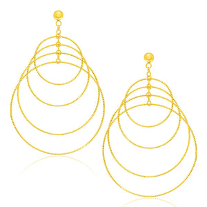 Original New York Style  14K Yellow Gold Graduated Textured Circle Earrings