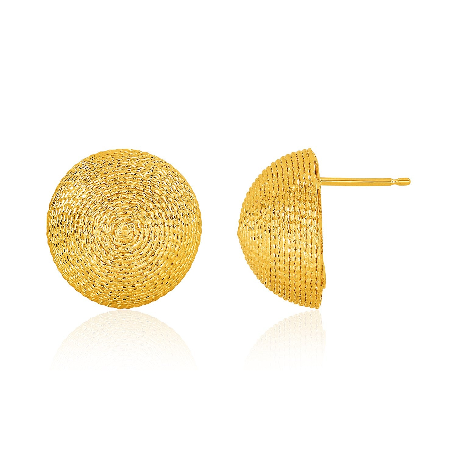 14K Yellow Gold Textured Round Dome Post Earrings