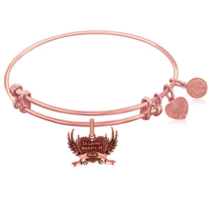 Expandable Pink Tone Brass Bangle with In Loving Memory Of Mom Symbol