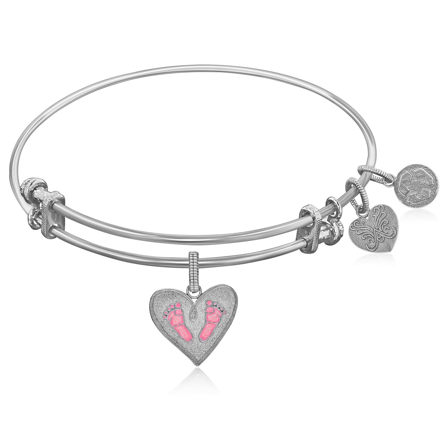 Expandable White Tone Brass Bangle with Pink Enamel Baby Foot Print Symbol