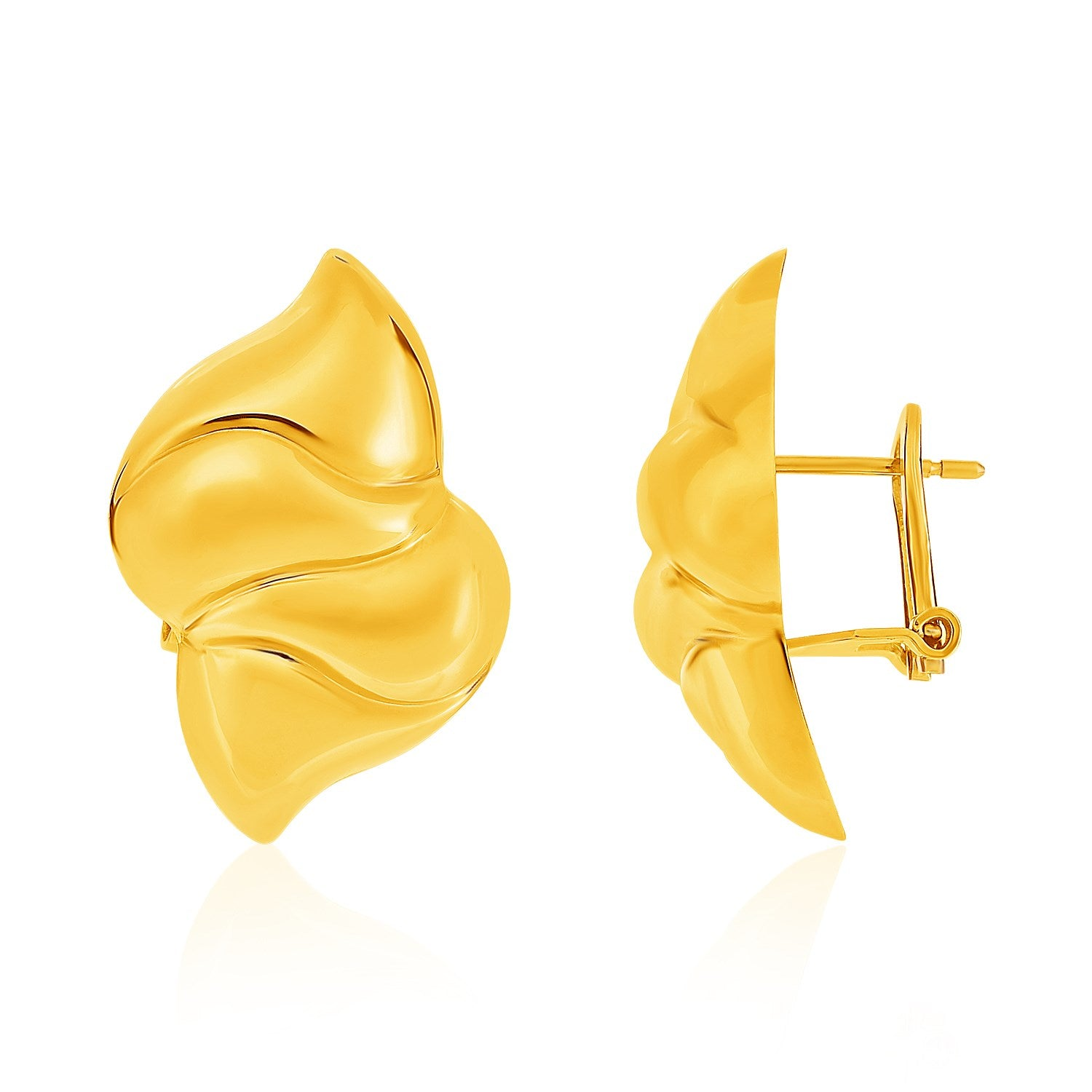 14K Yellow Gold Puffed Wavy Marquise Motif Post Earrings