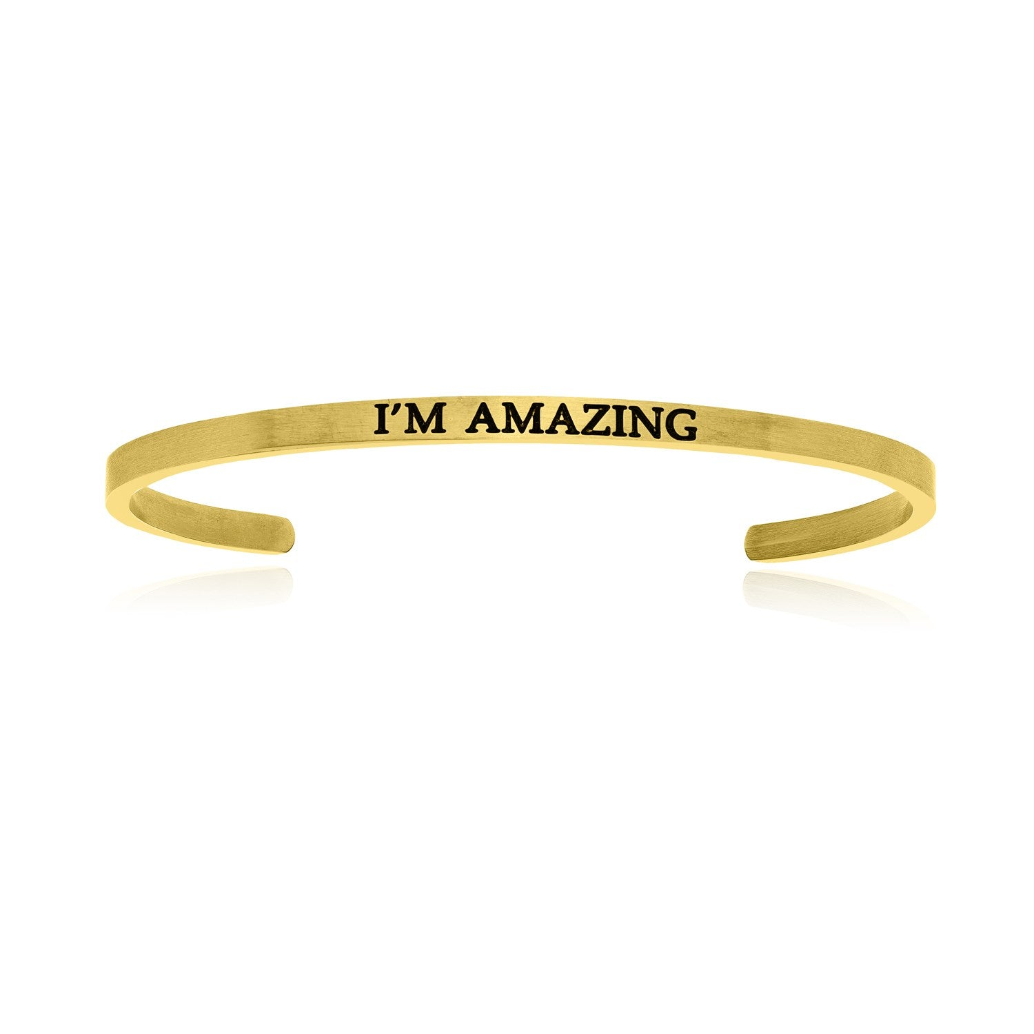 Yellow Stainless Steel I'm Amazing Cuff Bracelet
