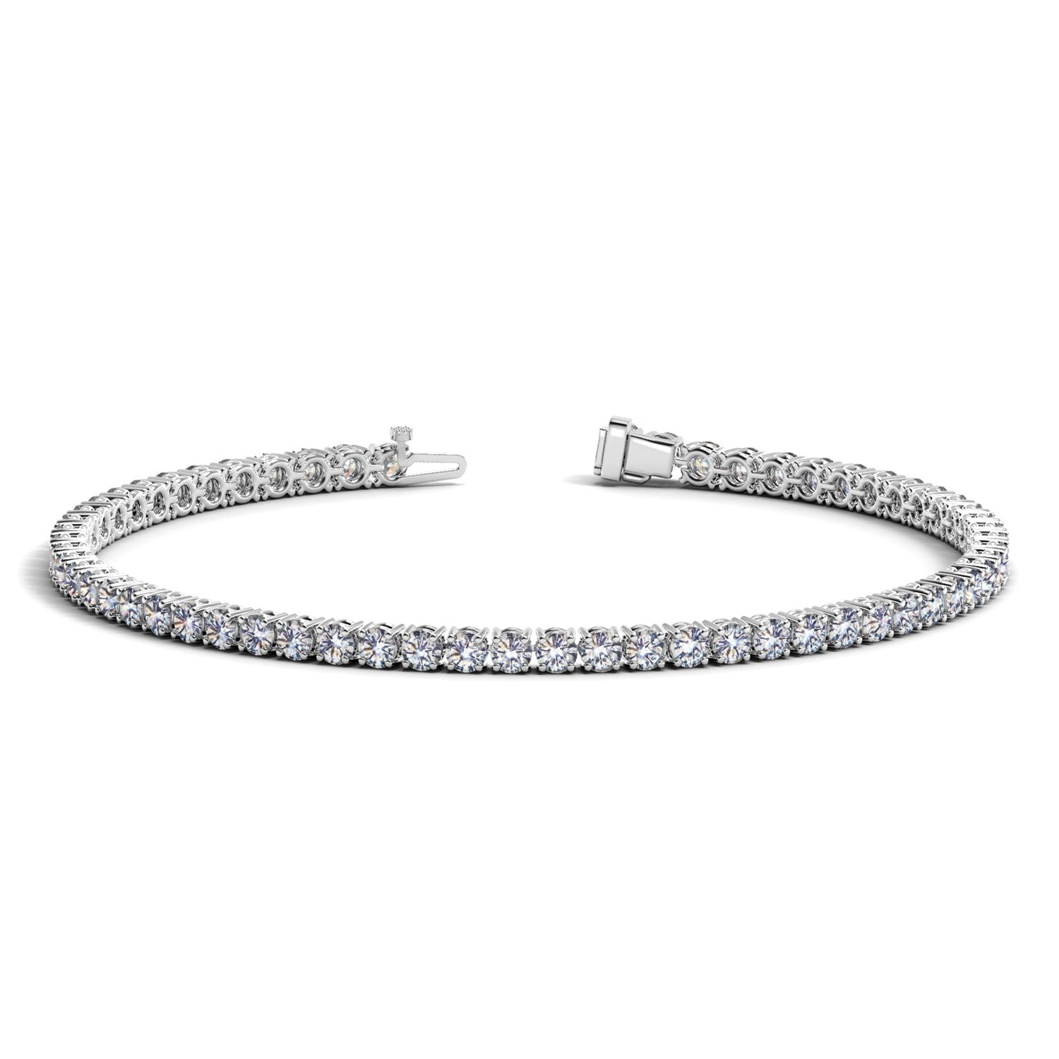 14K White Gold Round Diamond Tennis Bracelet (4 ct. tw.)