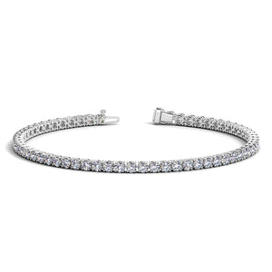 Unique Modern Monaco Style 14K White Gold Round Diamond Tennis Bracelet (4 ct. tw.)
