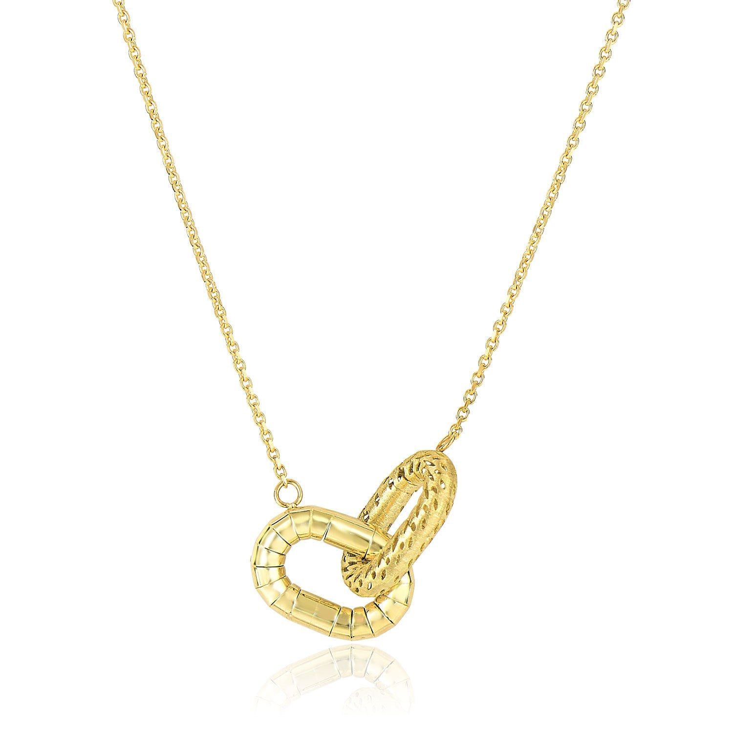 14K Yellow Gold Entwined Textured Oval Chain Necklace