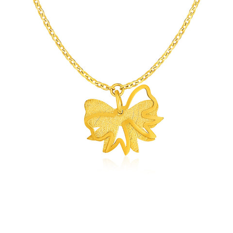 Two Layer Bow Pendant in 14K Yellow Gold