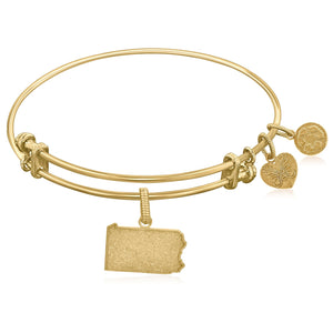 Luxury London Style Original Expandable Yellow Tone Brass Bangle with Pennsylvania Symbol