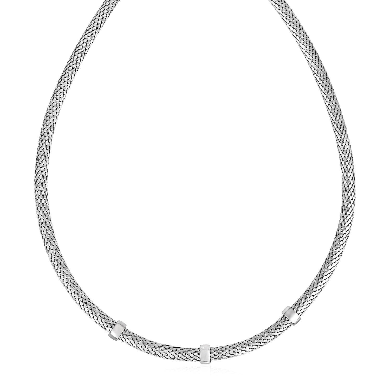 Omega Chain Station Necklace in Sterling Silver