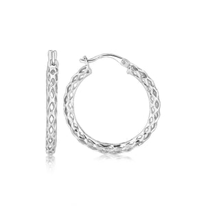 Unique Modern Paris Style Sterling Silver Woven Design Hoop Earrings with Rhodium Plating