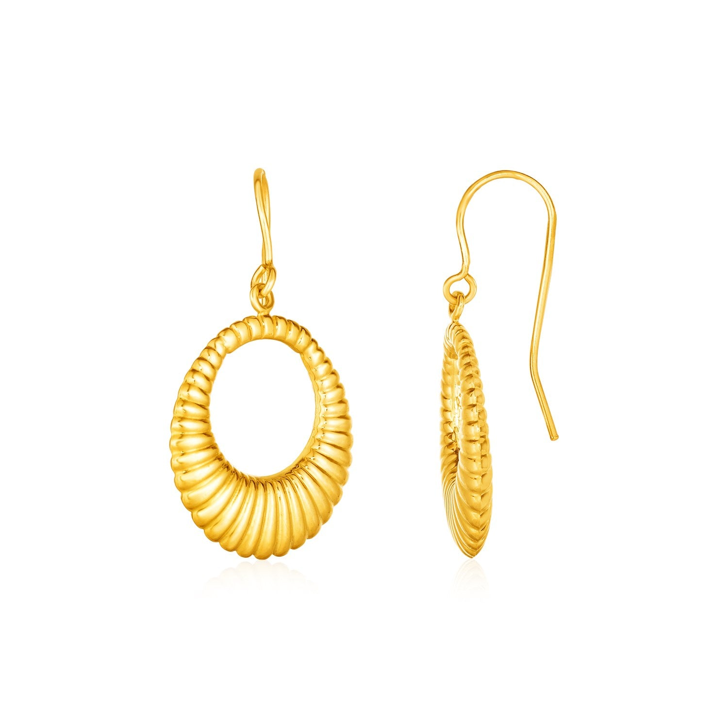 Open Ridged Oval Earrings in 10K Yellow Gold